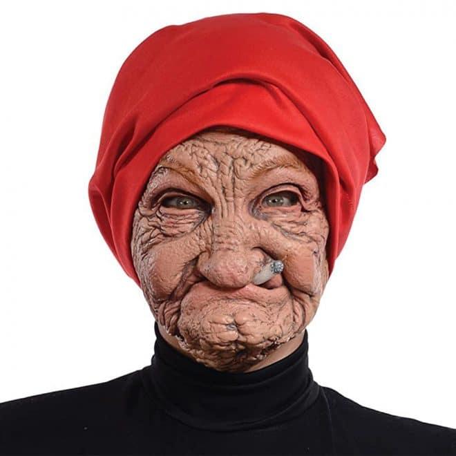 Halloween Old Nana Latex Mask with Head Scarf